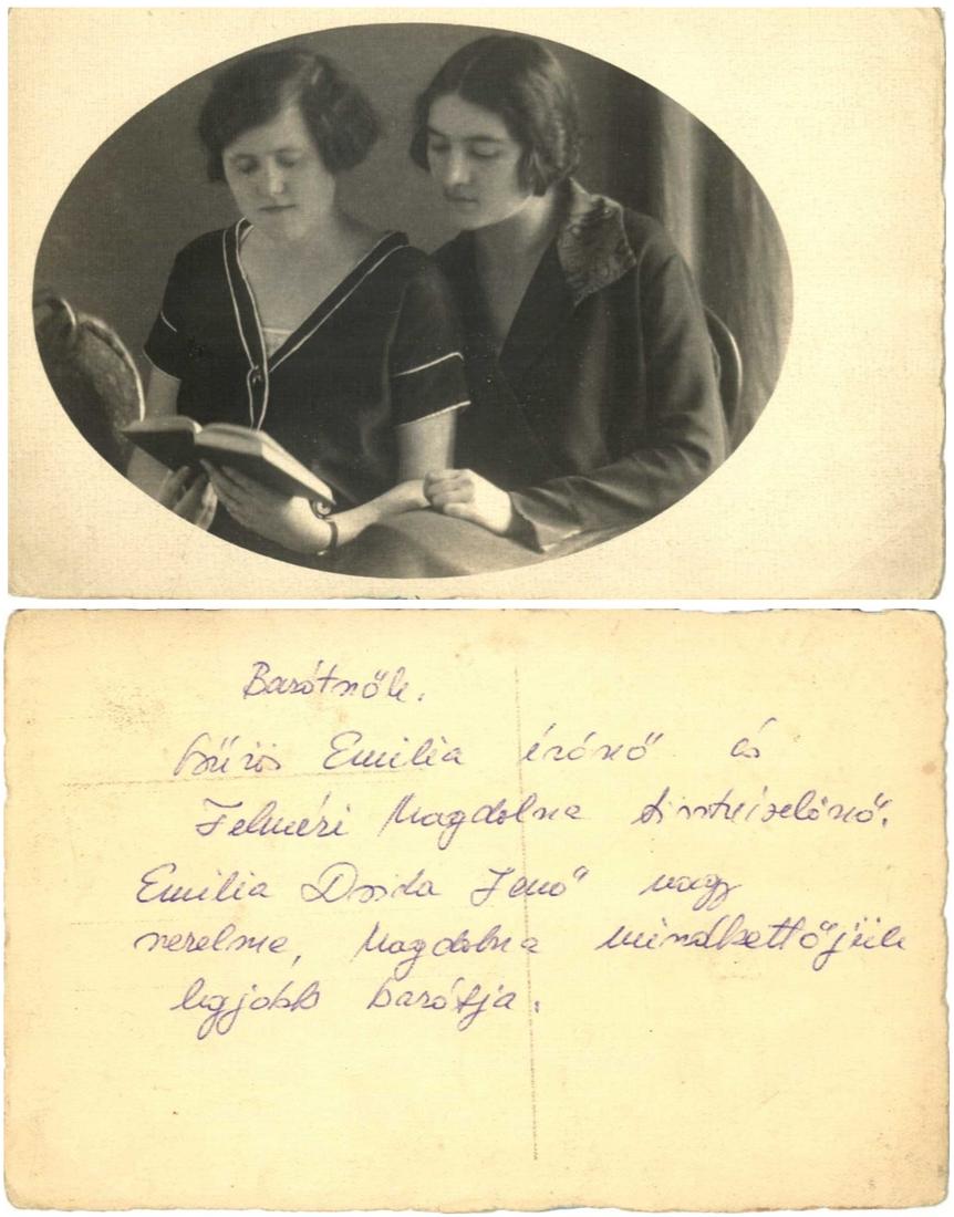 Csűrös Emilia és Felméri Magdolna portréja (és annak hátlapja)