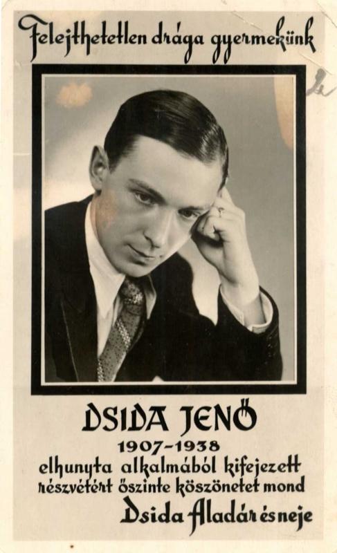 Gyászjelentés Dsida Jenőről