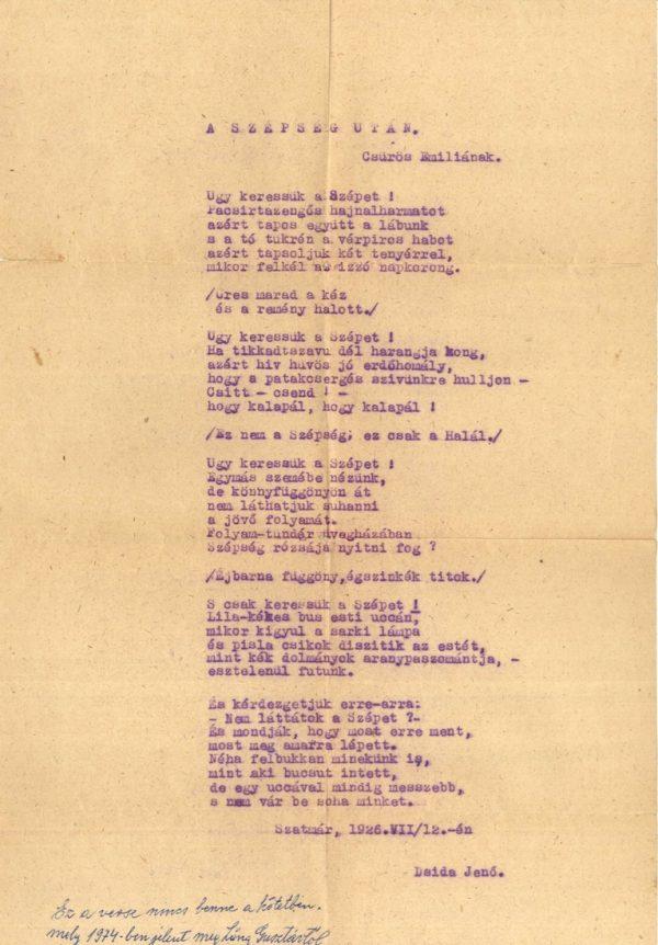Dsida Jenő verse Csűrös Emiliának