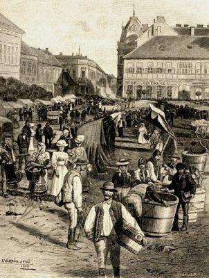 Fő téri piac. Szentgyörgy 1900