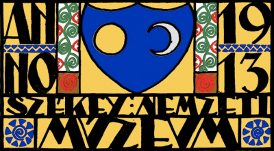 """A múzeum """"cégtáblája"""". Kós Károly, 1911"""