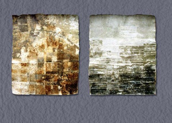 Lieber Erzsébet: Ház-lap és Víz-lap (merített papír, vegyes technika)
