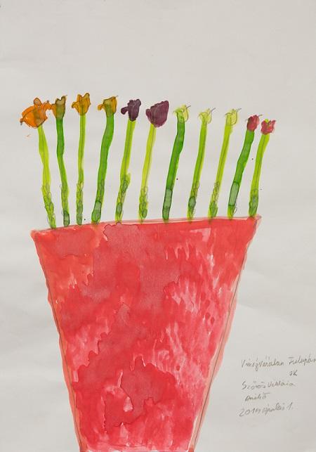 Szőrös Viktória: Virágvázában tulipán, 2014