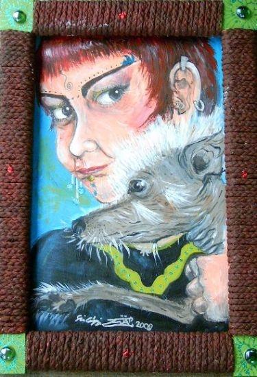 Szilágyi von Neuwirth Zoé: Önarckép meztelen kutyával