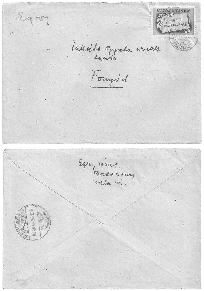 Egry József 1949-es levelének borítékja