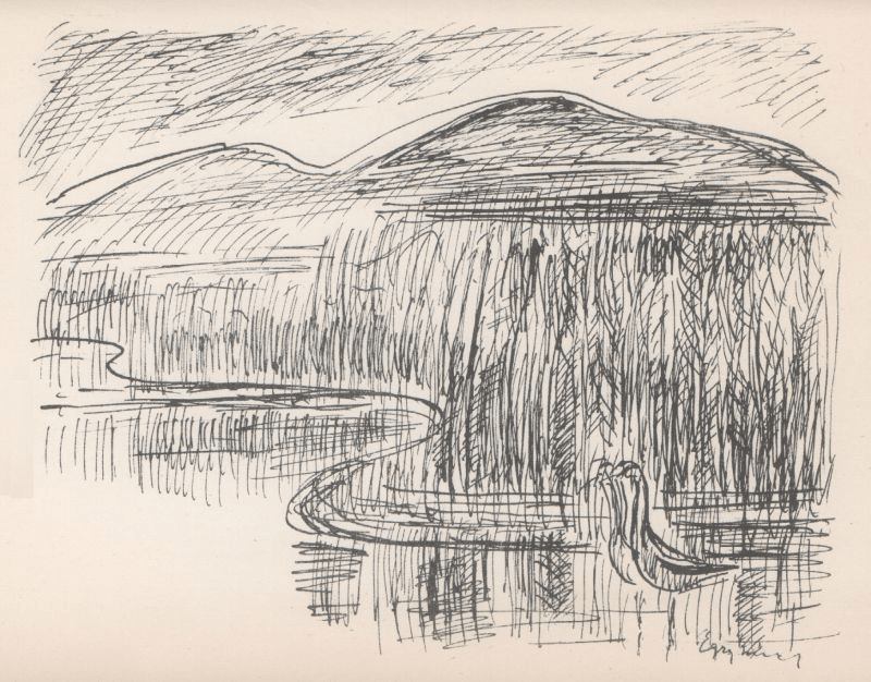 A Vízi templom című vershez társított Egry-rajz a Vízitükör című kötetben (forrás: PIM DIA)