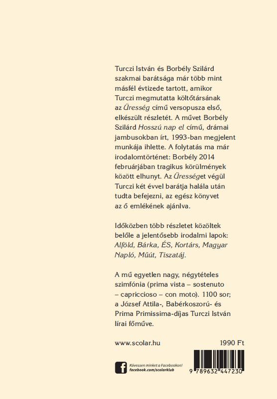 Turczi István Üresség című kötetének hátsó borítója