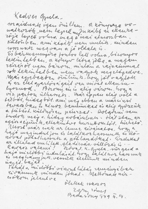 Egry József levele Takáts Gyulának, 1949. III. 19. - első közlés