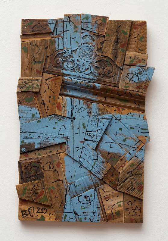 Birkás István: Kék keresztes fakép, 2000